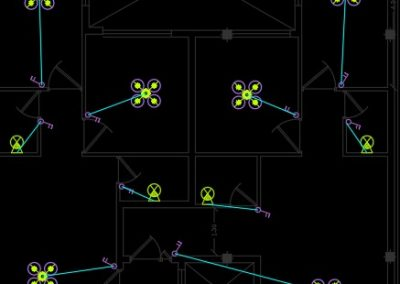 نقشه کامل تاسیسات برق ساختمان مسکونی چهار طبقه 1100 متری به همراه همکف و طبقه منفی یک در اتوکد