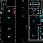 نقشه کامل تاسیسات برق آپارتمان پنج واحده 500 متری در اتوکد