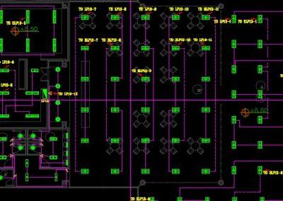 نقشه کامل تاسیسات برق ساختمان اداری گمرک شامل دو طبقه و 4000 هزار متر زیربنا در اتوکد
