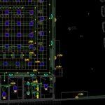 نقشه کامل تاسیسات برق ساختمان بانک 600 متری با پارکینگ در اتوکد