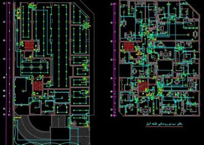 نقشه کامل تاسیسات برق برج تجاری، مسکونی با 28 واحد مسکونی و 9 واحد تجاری در اتوکد