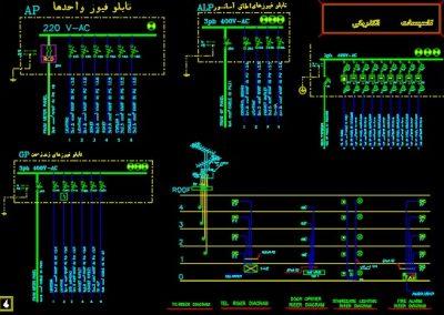 نقشه کامل تاسیسات برق ساختمان مسکونی چهار طبقه در اتوکد