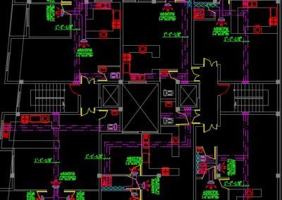 نقشه کامل تاسیسات مکانیکی ساختمان مسکونی چهار طبقه 24 واحدی با پارکینگ زیر زمین در اتوکد