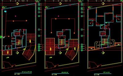 نقشه کامل تاسیسات مکانیکی ساختمان مسکونی سه طبقه با پارکینگ در زیر زمین و حیاط در اتوکد