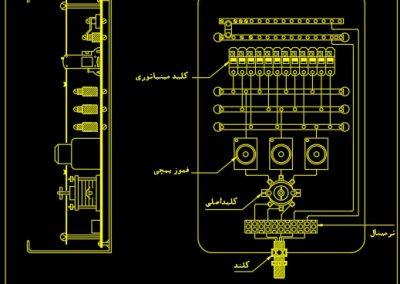 نقشه کامل تاسیسات برق ساختمان مسکونی چهار طبقه با هر طبقه دو واحد سه خواب در اتوکد