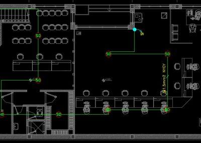 نقشه کامل تاسیسات برق فاز دو ساختمان بانک دو طبقه در اتوکد