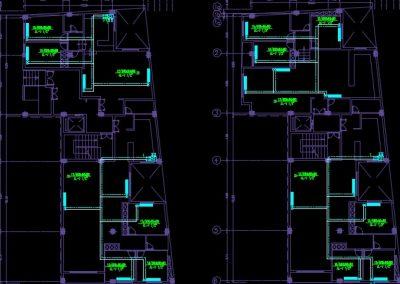 نقشه کامل تاسیسات مکانیکی مجتمع مسکونی 14 واحدی با گرمایش پکیج و کولر آبی در اتوکد