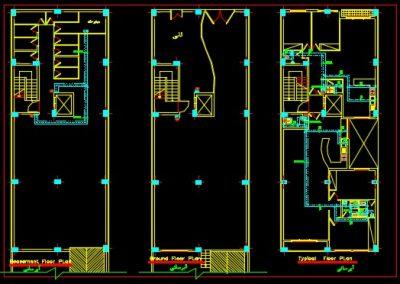نقشه کامل تاسیسات مکانیکی ساختمان مسکونی هفت طبقه ده واحدی در اتوکد
