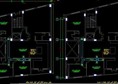 نقشه کامل تاسیسات مکانیکی ساختمان مسکونی سه طبقه با زیر زمین در اتوکد
