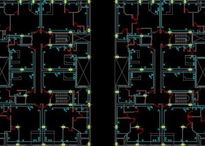این نقشه مربوط به تاسیسات برق ساختمان مسکونی 48 واحدی است. در این فایل، نقشه کامل تاسیسات برق ساختمان بر اساس استانداردهای سازمان نظام مهندسی ساختمان ایران در نرم افزار اتوکد طراحی شده است. در این فایل CAD تمامی نماهای مورد نیاز در نقشه های برق از جمله نمای جزییات (دیتایل) چاه ارت، حوضچه اتصال زمین، نقشه های برقی پلان طبقات زیرزمین، طبقه همکف و همچنین سایر طبقات ترسیم شده است. ضمنا نمای برش عمودی از ساختمان جهت نمایش رایزر دیاگرام ها طراحی شده است. از جمله نقشه های موجود در این فایل نقشه روشنایی زیرزمین، همکف و سایر طبقات، نقشه پریزهای برق، تلفن و آنتن تلوزیون برای زیرزمین، همکف و سایر طبقات، نقشه انواع تابلوهای برق ساختمان و همچنین رایزر دیاگرام های برق، آنتن مرکزی، تلفن و آیفون می باشد. ضمنا در این فایل جدول راهنمای المان های برقی مورد استفاده در نقشه و همچنین صفحه مربوط به توضیحات فنی وجود دارد که می توانید جهت طراحی نقشه های برقی از این موارد استفاده کنید.