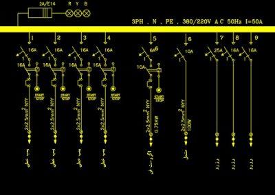 نقشه کامل تاسیسات برق ساختمان سه طبقه در اتوکد