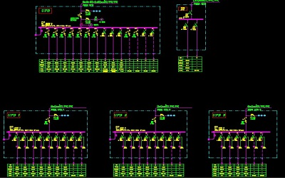 نقشه کامل تاسیسات برق ساختمان بانک 11 طبقه در اتوکد