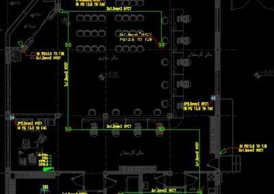 این نقشه مربوط به تاسیسات برق ساختمان بانک 600 متری با پارکینگ است. در این فایل، نقشه کامل تاسیسات برق ساختمان بر اساس استانداردهای سازمان نظام مهندسی ساختمان ایران در نرم افزار اتوکد طراحی شده است. در این فایل CAD تمامی نماهای مورد نیاز در نقشه های برق از جمله نمای جزییات (دیتایل) چاه ارت، حوضچه اتصال زمین، نقشه های برقی پلان های مختلف ترسیم شده است. از جمله نقشه های موجود در این فایل پلان روشنایی طبقه همکف، نیم طبقه و طبقه اول، پلان سیستم های کابل شبکه و کامپیوتر، پلان پریزهای برق، پلان سیستم تلفن، پلان سیستم اعلام حریق، پلان سیستم دوربین مدار بسته، پلان سیستم اعلام سرقت، پلان سیستم صوتی و نوبت دهی، پلان سیستم ارت و دیاگرام تک خطی تابلو های توزیع الکتریکی می باشد. ضمنا در این فایل جدول راهنمای المان های برقی مورد استفاده در نقشه و همچنین صفحه مربوط به توضیحات فنی وجود دارد که می توانید جهت طراحی نقشه های برقی از این موارد استفاده کنید.