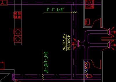 نقشه کامل تاسیسات مکانیکی آپارتمان 8 واحدی و 2200 متری در اتوکد