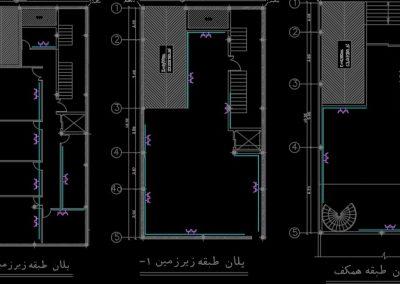 نقشه کامل تاسیسات برق ساختمان مسکونی پنج طبقه به همراه همکف و دو طبقه زیر زمین در اتوکد