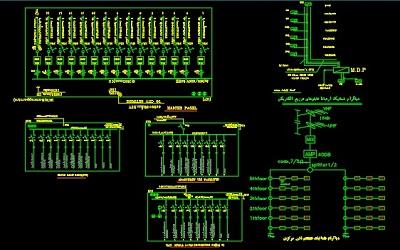 نقشه کامل تاسیسات برق ساختمان مسکونی 48 واحدی در اتوکد