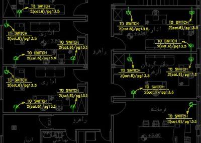 نقشه کامل تاسیسات برق ساختمان اداری سه طبقه در اتوکد