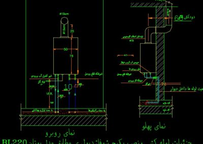 نقشه کامل تاسیسات مکانیکی آپارتمان مسکونی 5000 متری با پارکینگ طبقاتی در اتوکد