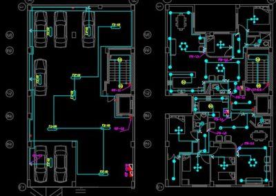 نقشه کامل تاسیسات برق ساختمان 1500 متری در اتوکد