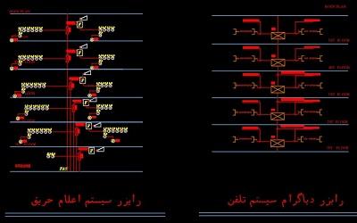 نقشه کامل تاسیسات برق ساختمان تجاری مسکونی ده طبقه با دو طبقه زیر زمین در اتوکد
