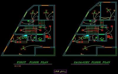 نقشه کامل تاسیسات برق آپارتمان مسکونی پنج طبقه در اتوکد