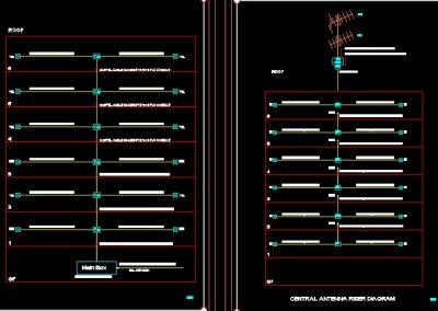 نقشه کامل تاسیسات برق برج مسکونی با دو واحد در هر طبقه و پارکینگ طبقاتی در اتوکد