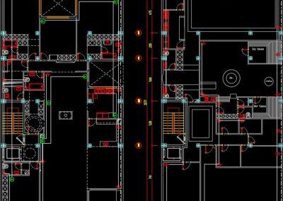 نقشه کامل تاسیسات برق برج مسکونی 2800 متری با دوطبقه پارکینگ در زیر زمین در اتوکد
