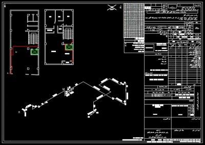 نقشه کامل گاز آپارتمان چهر طبقه در اتوکد به همراه طراحی ایزومتریک