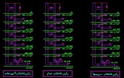 نقشه کامل تاسیسات مکانیکی ساختمان مسکونی شش طبقه در اتوکد