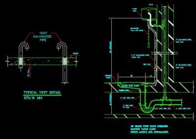 نقشه کامل تاسیسات مکانیکی ساختمان مسکونی 2800 متری با پارکینگ طبقاتی در اتوکد