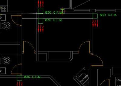 نقشه کامل تاسیسات مکانیکی ساختمان مسکونی 2200 متری با یک طبقه زیر زمین به عنوان پارکینگ در اتوکد