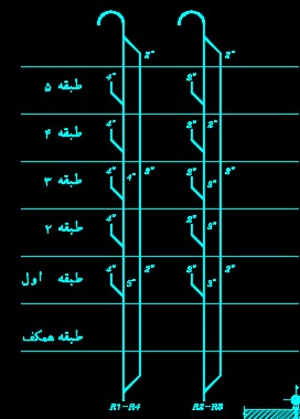 نقشه کامل تاسیسات مکانیکی ساختمان مسکونی شش طبقه 2100 متری در اتوکد