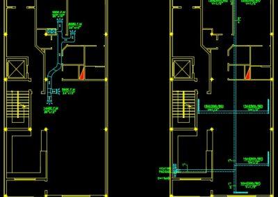نقشه کامل تاسیسات مکانیکی واحد مسکونی چهار طبقه 1000متری در اتوکد
