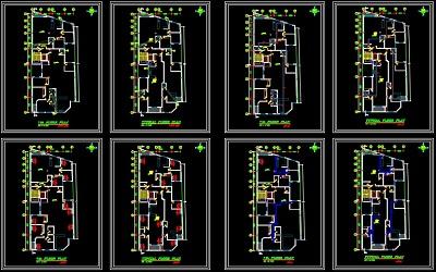 نقشه کامل تاسیسات مکانیکی مجتمع مسکونی 2570 متری در اتوکد