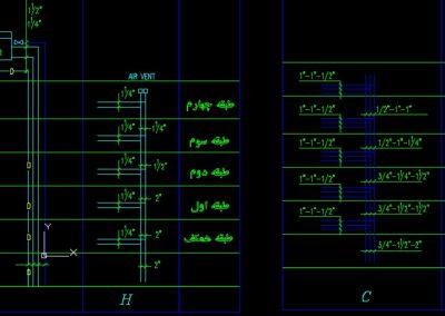 نقشه کامل تاسیسات مکانیکی آپارتمان 433 متری در اتوکد