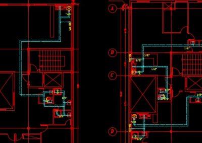 نقشه کامل تاسیسات مکانیکی مجتمع مسکونی 1100 متری در اتوکد