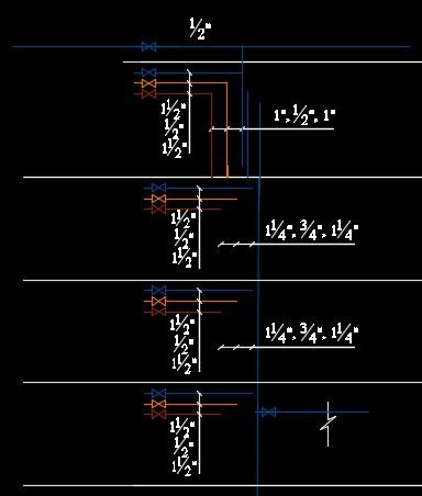 نقشه کامل تاسیسات مکانیکی آپارتمان چهار طبقه مسکونی در اتوکد