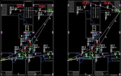 نقشه کامل تاسیسات مکانیکی مجتمع مسکونی 1800 متری با سرمایش کولر گازی در اتوکد