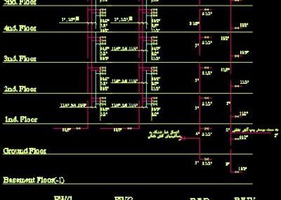 نقشه کامل تاسیسات مکانیکی ساختمان مسکونی پنج طبقه و ده واحدی در اتوکد