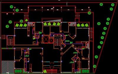نقشه کامل تاسیسات مکانیکی مجتمع مسکونی 11طبقه 44 واحده 9000 متری در اتوکد