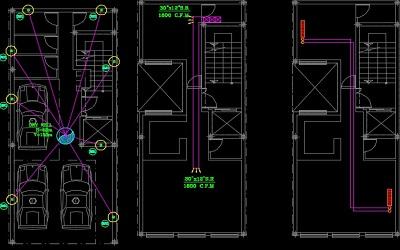 نقشه کامل تاسیسات مکانیکی آپارتمان چهار طبقه 400 متری در اتوکد