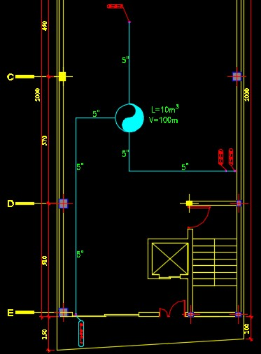 نقشه کامل تاسیسات مکانیکی آپارتمان پنج واحده 920 متری در اتوکد