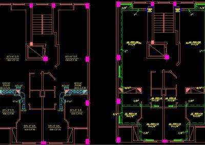 نقشه کامل تاسیسات مکانیکی مجتمع مسکونی شش طبقه در اتوکد