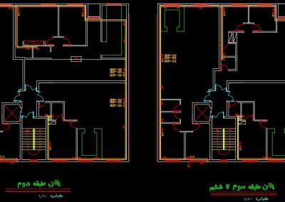 نقشه کامل تاسیسات برق مجتمع مسکونی شش طبقه در اتوکد