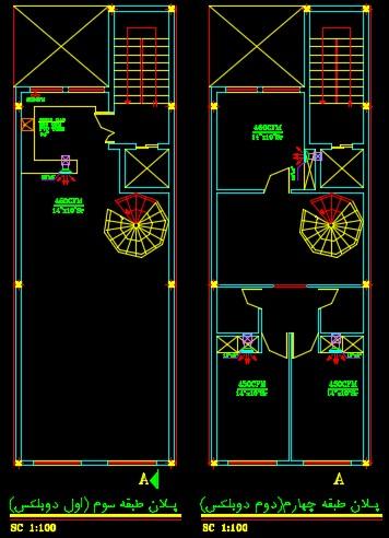 نقشه کامل تاسیسات مکانیکی ساختمان مسکونی دوبلکس 457 متری در اتوکد
