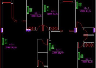 نقشه کامل تاسیسات مکانیکی آپارتمان مسکونی پنج طبقه 3600 متری در اتوکد