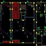 نقشه کامل تاسیسات مکانیکی آپارتمان مسکونی پنج طبقه 1720 متری در اتوکد