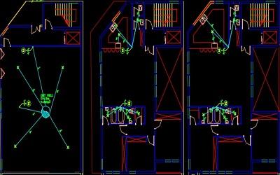 نقشه کامل تاسیسات مکانیکی آپارتمان پنج واحده مسکونی 1500 متری در اتوکد