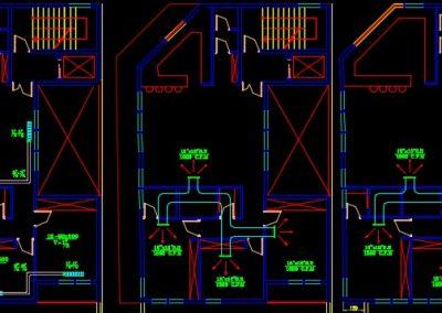 این نقشه مربوط به تاسیسات مکانیکی آپارتمان پنج واحده مسکونی 1500 متری است. در این فایل، نقشه کامل تاسیسات مکانیکی ساختمان بر اساس استانداردهای سازمان نظام مهندسی ساختمان ایران در نرم افزار اتوکد طراحی شده است. در این فایل CAD تمامی نماهای مورد نیاز در نقشه های مکانیکی از جمله نمای جزییات (دیتایل) جعبه آتش نشانی و کپسول آتشنشانی، آب بندی کانال، آبرو بام، ترنچ کف، کفشور، لوله انشعابات ساختمان، توالت ایرانی، کانال های افقی در زیر سقف، ونت، روشویی، فلو دیاگرام موتورخانه ، رادیاتور، لوله انشعاب ساختمان، آب بندی کانال و همچنین نقشه های تاسیسات مکانیکی پلان طبقات ترسیم شده است. ضمنا نمای برش عمودی از ساختمان جهت نمایش رایزر دیاگرام ها از جمله رایزر دیاگرام سیستم گرمایش طبقات، سیستم آبرسانی طبقات، رایزرهای خشک و مرطوب آتش نشانی، ونت ها و آب باران طراحی شده است. از جمله نقشه های موجود در این فایل نقشه سیستم فاضلاب، سیستم آب رسانی، سیستم سرمایش و سیستم گرمایش می باشد. همچنین در این فایل صفحه مربوط به توضیحات فنی و همچنین جدول مشخصات پکیج، جدول مشخصات رادیاتورها و جدول راهنمای المان ها وجود دارد که می توانید جهت طراحی نقشه های برقی از این موارد استفاده کنید.