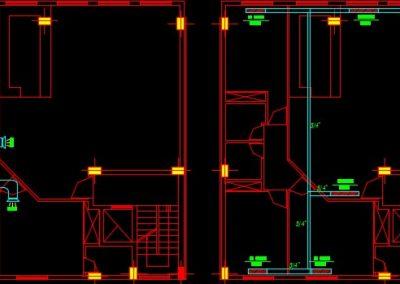 نقشه کامل تاسیسات مکانیکی ساختمان مسکونی پنج واحدی در اتوکد